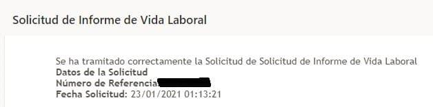 mensaje de petición de vida laboral correo electrónico