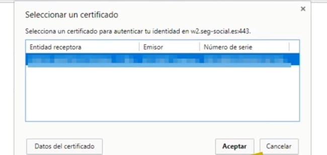 pantalla en la que indica el certificado que tiene instalado