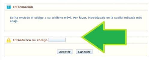 introduzca el código enviado por SMS para vida laboral l