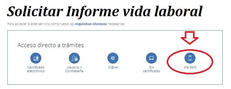 solicitar vida laboral sede electrónica acceso al servicio iconos