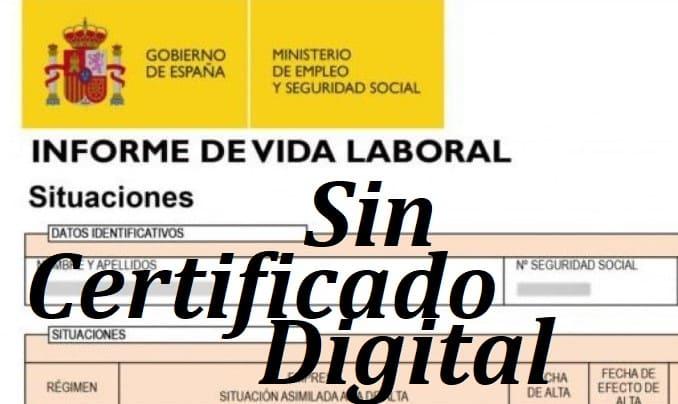 solicitar vida laboral sin certificado digital